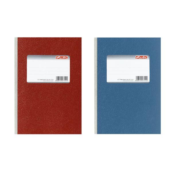 Diarium A5 72 Blatt kariert broschiert Farben rot und blau