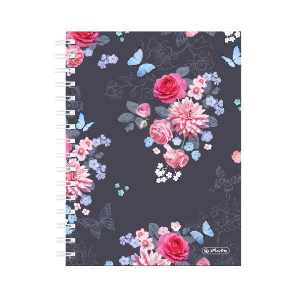 Spiralboutiquebuch A5 Ladylike 100 Blatt kariert Flowers