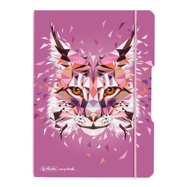 Notizheft flex PP A5,40 Blatt, punktiert Wild Animals Luchs, my.book