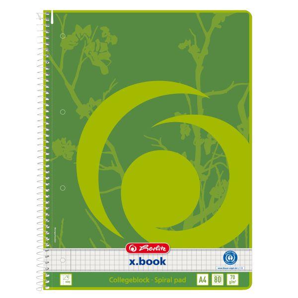100 Blatt herlitz x.book Spiralblock Register A4 liniert