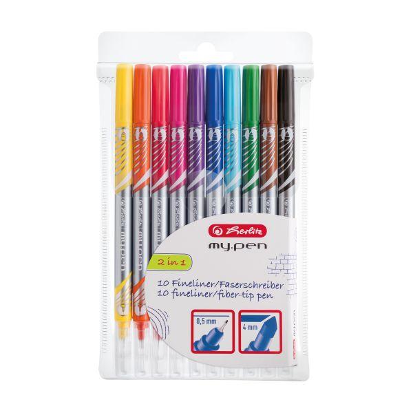 Fineliner-Faserschreiber my.pen 10 Stück in Folienetui