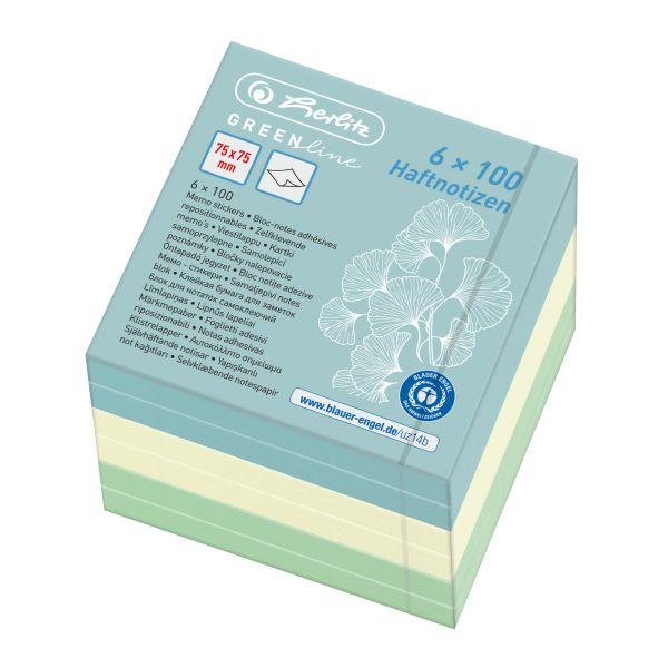 Haftnotizblock 75x75 mm 6x100 Blatt GREENline farbig sortiert
