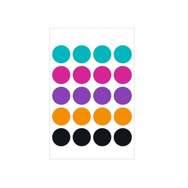 Markierungspunkte farbig, 19mm selbstklebend 80 Stück FSC