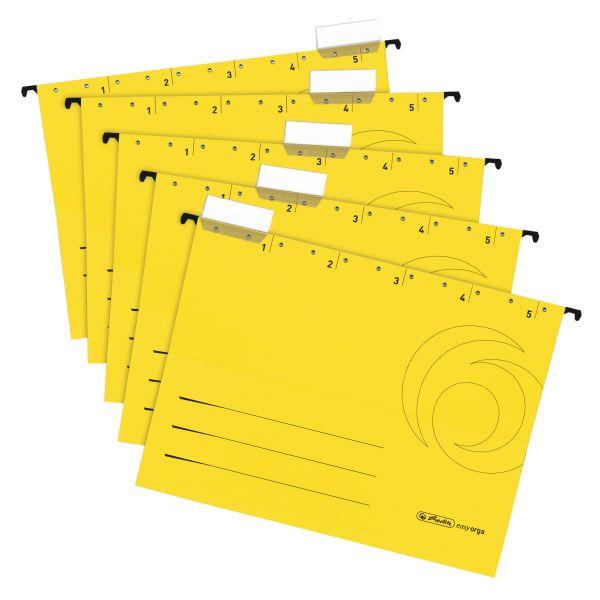 Φάκελοι κρεμαστοί Α4 ανοιχτά πλαϊνά 5 τμχ. κίτρινοι