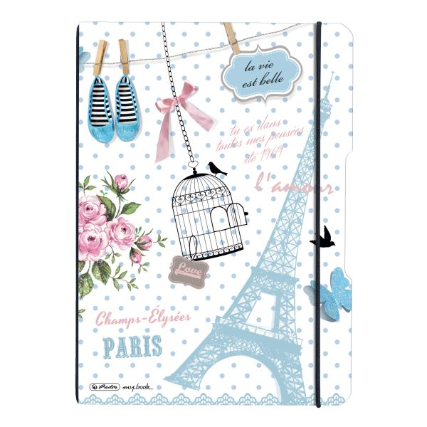 Notebook flex PP A4, 40sheets squared and 40sheets ruled,Paris, punched, microperforation my.bbok