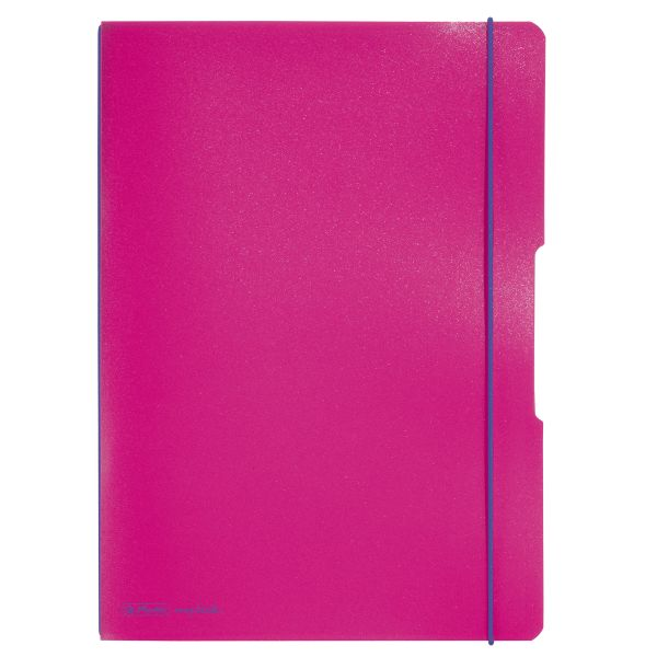 Notebook flex PP A4, 40sheets squared and 40sheets ruled, pink, punched, microperforation my.bbok