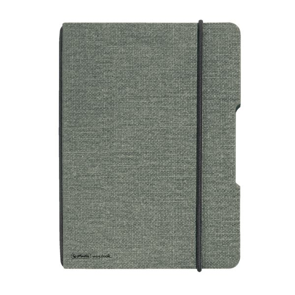 Notebook flex canvas A4,40 sheets, squared grey, punched, microperforation my.book