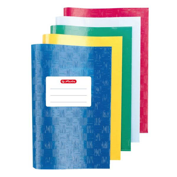 exercise book cover A5 structure of bast, assorted colours, 5 pieces