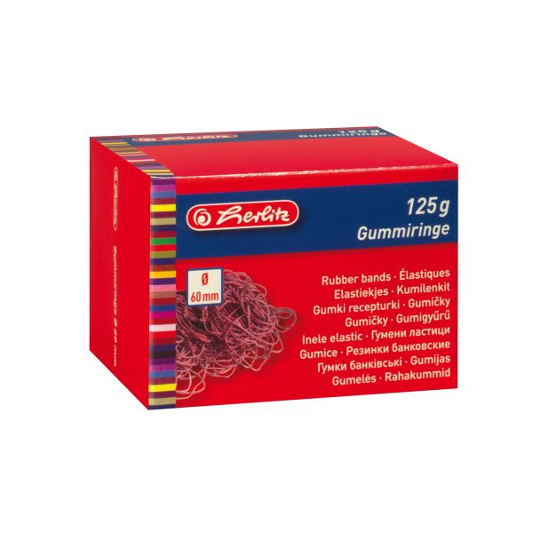 Herlitz 60mm Rubber Band Red Box of 1Kg
