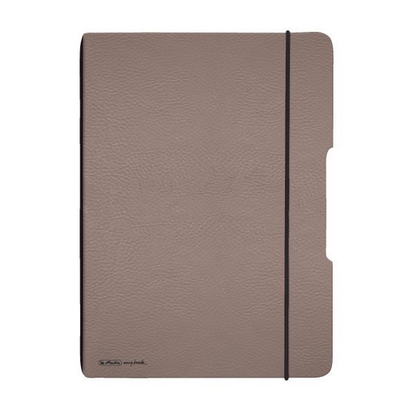 Notebook flex leather like A4,40 sheets, squared taupe, punched, microperforation my.book