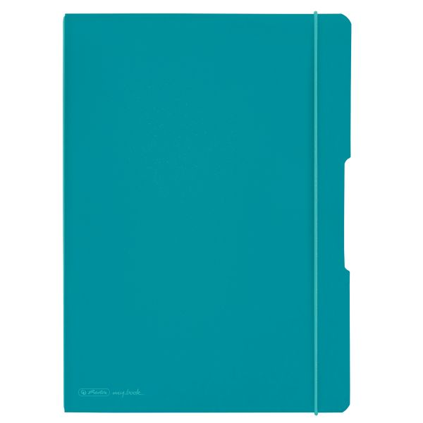 notebook flex PP A4,40sheets squared and 40sheets ruled,car.turq.,punched,microperforation my.book