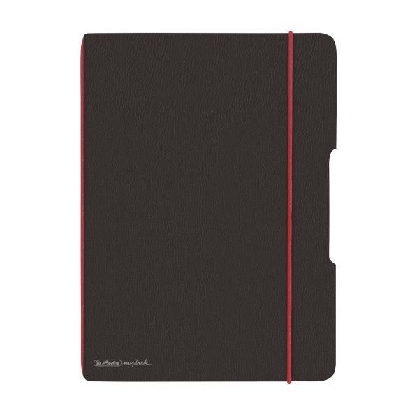Notebook flex leather like A4,40 sheets, squared black, punched, microperforation my.book
