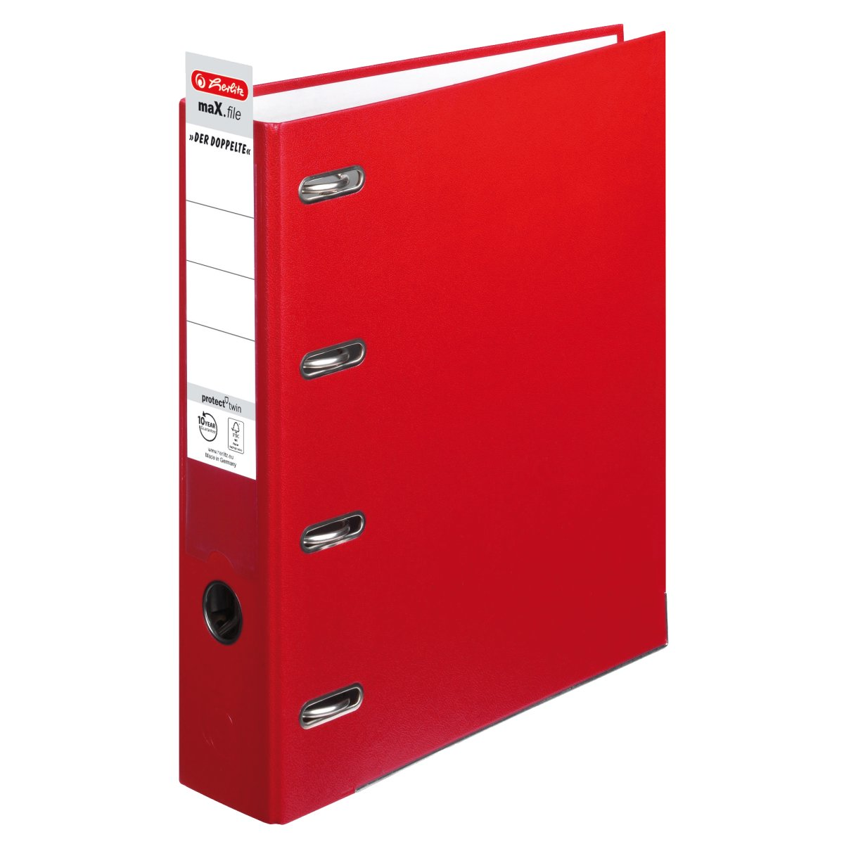 Double Lever Arch File MaX.file Protect A4 7cm Red