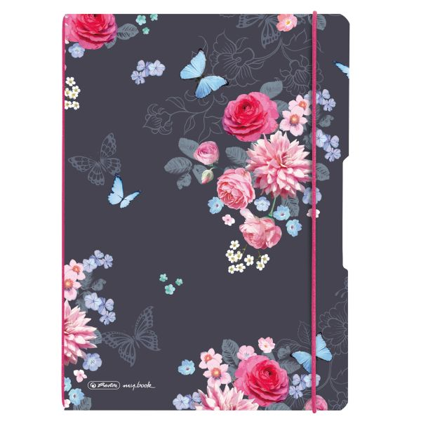 Notebook flex PP A4, 40sheets squared and 40sheets motif Ladylike Flowers,punched,perforation my.book