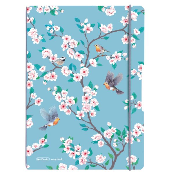 Notebook flex PP A4, 40sheets squared and 40sheets motif Ladylike Birds,punched,perforation my.book