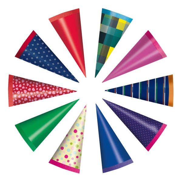 confectionery cone round 15 cm assorted colours
