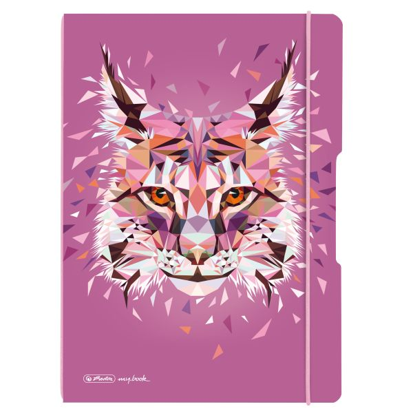 Notebook flex PP A4, 40sheets squared and 40sheets motif Wild Animals Lynx,punched,perforation my.book