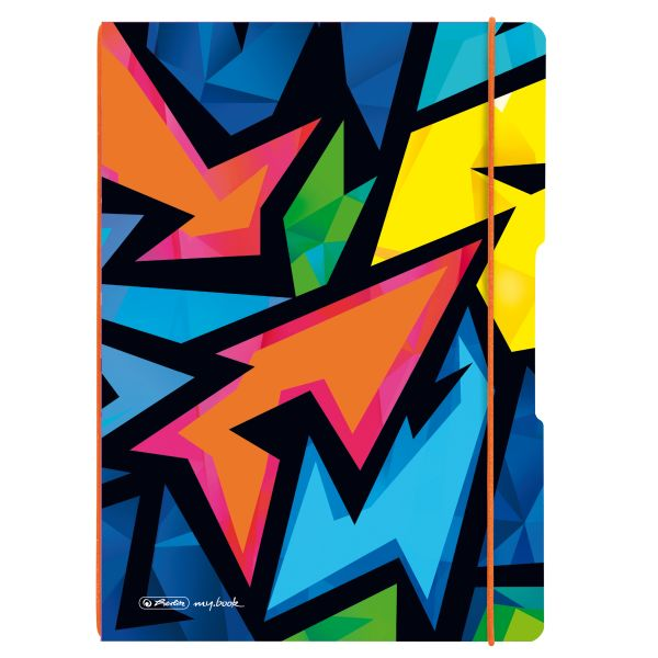 Notebook flex PP A4, 40sheets squared and 40sheets motif Neon Art,punched,perforation my.book