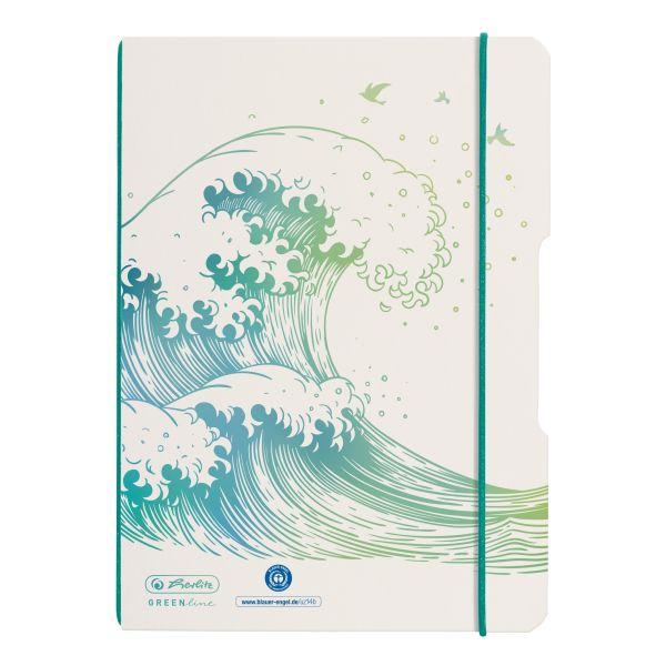 Notebook flex A5/40, dotted, GREENline, motif Wave