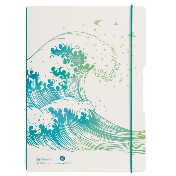 Notebook flex A4/2x40, squared + ruled, GREENline, motif Wave
