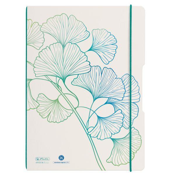 Notebook flex A4/2x40, squared + ruled, GREENline, motif Ginkgo