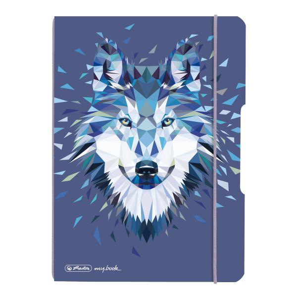 my.book flex PP jegyzetfüzet A5, 40 lapos, pöttyözött, Wild Animals Wolf