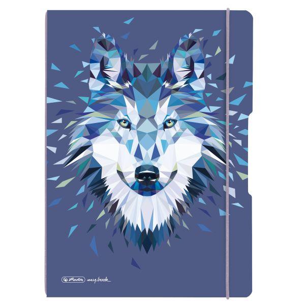 my.book flex PP jegyzetfüzet A4, 40 kockás + 40 vonalas lyukasztott és perforált lappal, Wild Animals Wolf