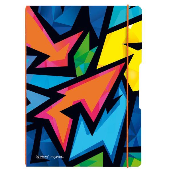 my.book flex PP A4 jegyzetfüzet, 40 kockás + 40 vonalas lyukasztott és perforált lappal Neon Art