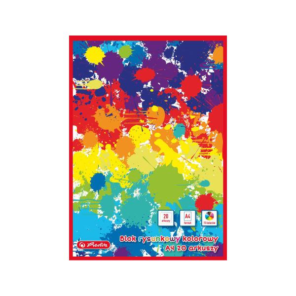 Blok rysunkowy A4, 20 kartek, kolorowy