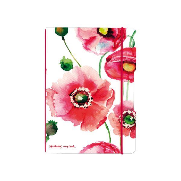 Caiet A5 40 file pătr Poppy Flowers