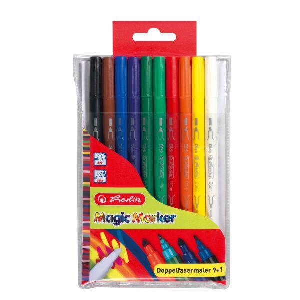 Фломастеры двусторонние Magic Colours, 10 штук в пластиковом футляре