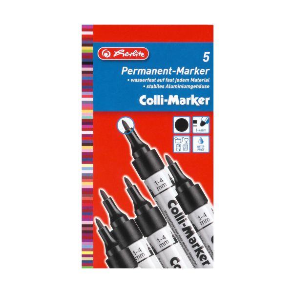 маркер Colli 1-4 мм, черный, 5 штук в картонной коробке