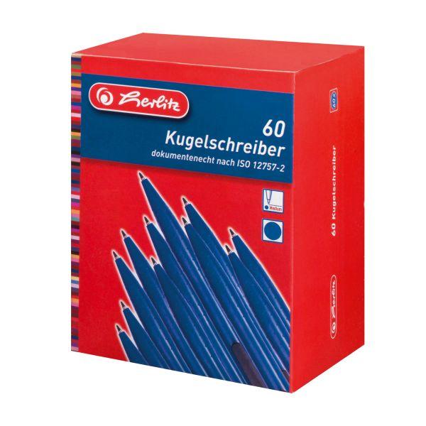 шариковая ручка, синяя, 60 штук