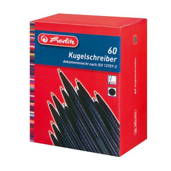 шариковая ручка, черная, 60 штук