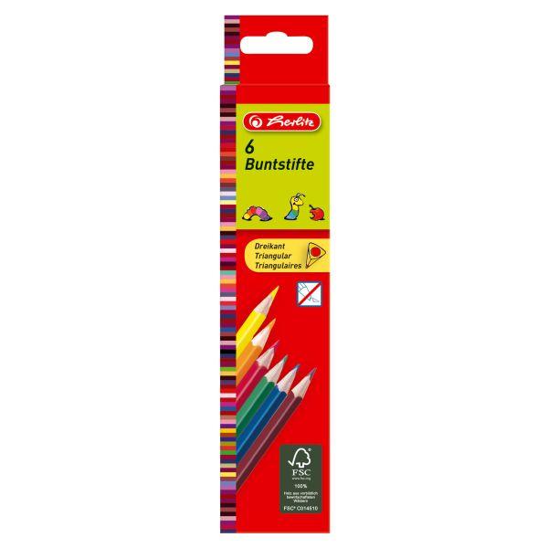 Карандаши цветные трехгранные, 6 штук в блистерной упаковке
