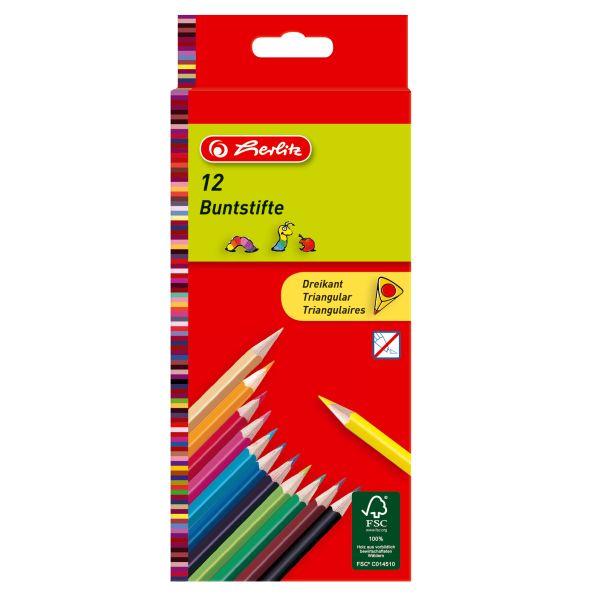 Карандаши цветные трехгранные, 12 штук в блистерной упаковке