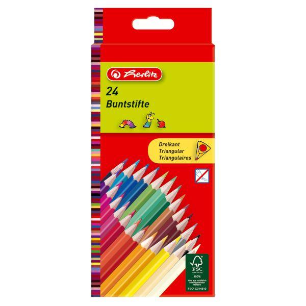 Карандаши цветные трехгранные, 24 штуки в блистерной упаковке