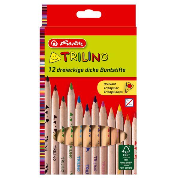 Карандаши цветные трехгранные Trilino, сертификат FSC, 12 штук в блистерной упаковке