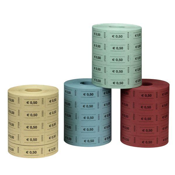 купоны по 0,50 EUR, 5х1000 отрывных листков, 5 рулонов пронумерованы последовательно