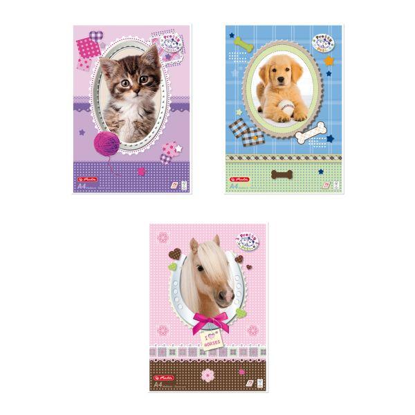 блокнот для набросков A4 Pretty Pets, 75 листов, 3 разных узора FSC