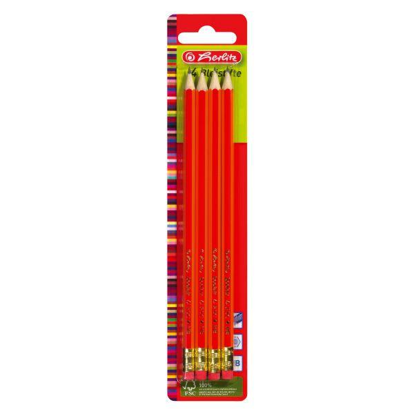 Ceruzka HB/guma, 4ks, balenie na blistri