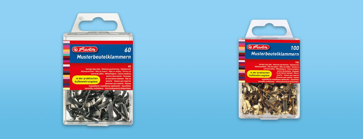 Musterbeutelklammern  Sample bag clips - Herlitz